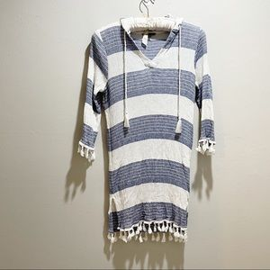 SPIAGGIA DOLCE Stripe Fringed Hooded Swim Cover